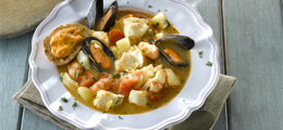 Sopa de pescado con merluza
